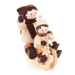 Sledding Children Wooden German Figurine FGD232x102x9N