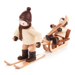 Ski and Sled Mountain Rescue Children Wooden German Figurines  FGD232x102x14N