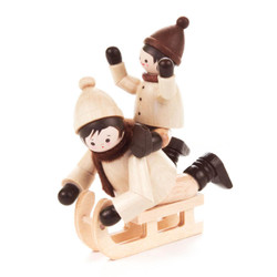 Children Riding a Sled German Wooden Figurine  FGD232x102x15N