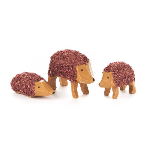 Wooden Mini Hedgehogs German Figurine Set - 3 Piece Set FGD076X074