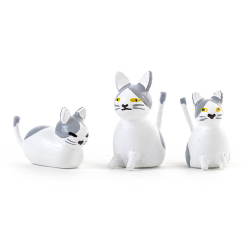 Wooden Mini Cat German Figurine Set - 3 Piece Set FGD076x007