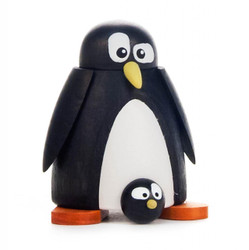 Wooden Mini Penguin with Baby German Figurine - 1 Piece Set FGD156x116x1