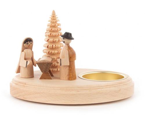 German Nativity Scene Wooden Tealight Candleholder CHD200x262
