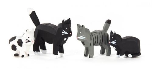 Wooden Mini Cats Kittens German Figurine 4 Piece Set FGD076X112