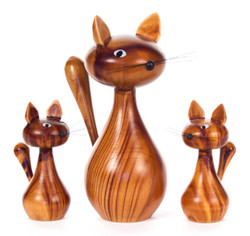 Wooden Cat German Figurine - 3 Piece Set FGD076X4021