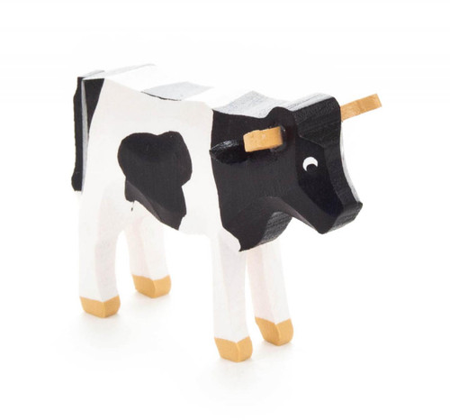 Wooden Cow Hand Carved German Figurine - Mini - Black and White FGD076x072x1