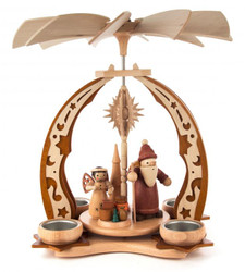 Santa with Angel Star and Gifts German Tea Light Pyramid PYD085X884