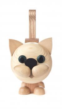 Natural Kitty Cat Wooden Eyeglass Holder German Figurine FGD052X005