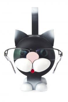 Black Kitty Cat Wooden Eyeglass Holder German Figurine  FGD052X005X1