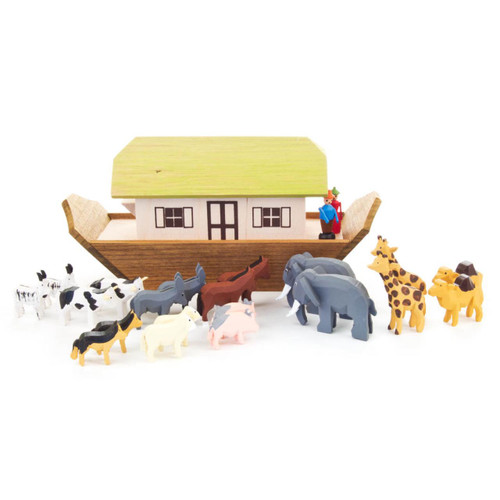 Miniature Wooden Noah Ark with Hand Carved Animal German Figurines  FGD154X201