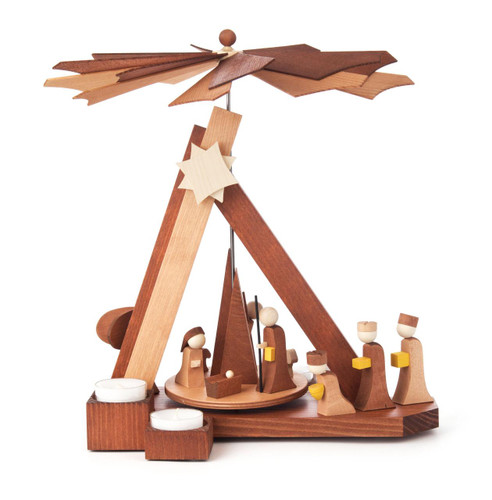 Modern Style Nativity Scene with Angel and Wisemen German Tea Light Candle Pyramid PYD085X715X1