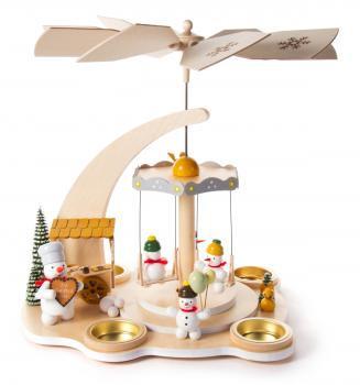 Playing Snowmen at Christmas Market German Carousel Tea Light Pyramid PYD085X895