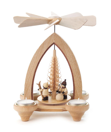 Santa and Winter Sports Children Playing in Snow German Tea Light Pyramid PYD085X612
