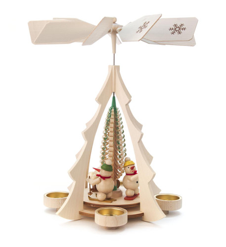 Playing Snowmen German Tea Light Pyramid PYD085X145X4N