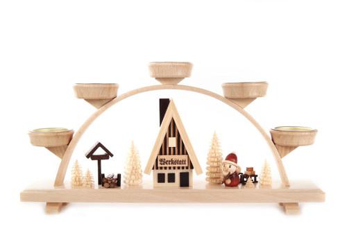 Santa Workshop Village German Schwibbogen Tea Light Candle Arch CHD202X960