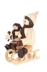 Winter Sledding Children Wooden German Figurine FGD232X102X9GN