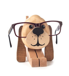 Natural Puppy Dog Wooden Eyeglass Holder German Figurine