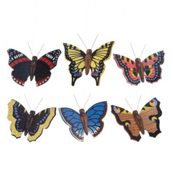 Six Wooden Butterfly German Ornaments  ORD224X003