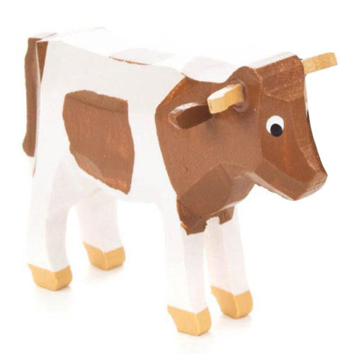 Mini Wooden Cow Hand Carved German Figurine  - Brown and White FGD076/072