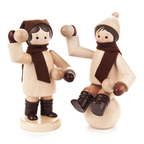 Snowball Winter Fun Boy and Girl Wooden German Large Figurine   FGD195X093X3GN