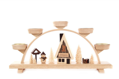 Snowman Ski Cabin Village German Schwibbogen Tea Light Candle Arch  CHD202X961