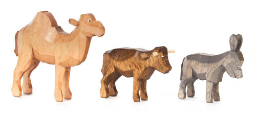 Nativity Hand Carved Wooden Camel Donkey Ox German Figurine Set of 3 FGD076X116