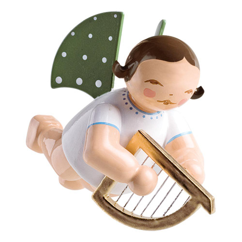 WENDT & KÜHN Flying Angel Playing Harp Ornament - Brunette