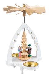 Small White Nativity Scalloped Arch Tealight Pyramid