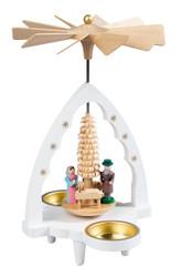 Small White Nativity Scalloped Arch Tealight Pyramid