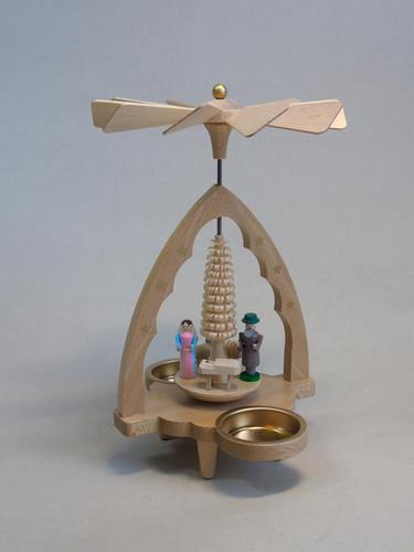 Small Nativity Scalloped Arch Tealight Pyramid PYR163X87
