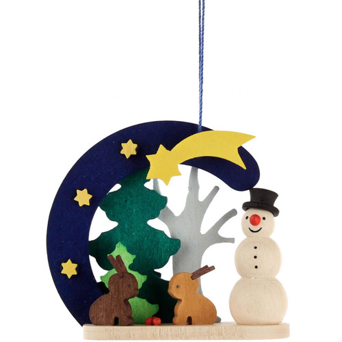 Snowman Bunny Wooden Christmas German Ornament ORD403X4414