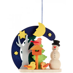 Snowman Birdhouse Christmas Wooden Ornament  ORD403X4416