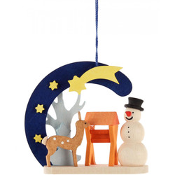 Snowman with Deer Wooden Christmas Ornament ORD403X4413