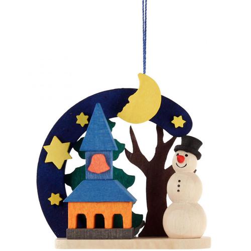 German Christmas Snowman Church Wooden Ornament ORD403X4412