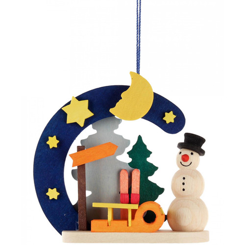 German Snowman Sled Wooden Christmas Ornament ORD403X4411