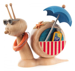 Wooden Snail Sunbathe Beach German Smoker SMD146X1739