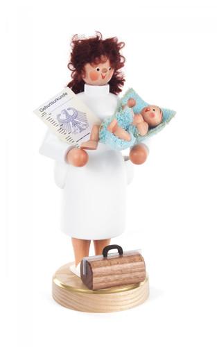 Midwife with Newborn Baby German Smoker SMD146X1582
