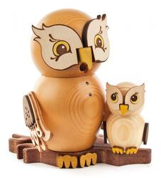 Whimsical Owl with Baby Owlet German Smoker SMD146X1670X16