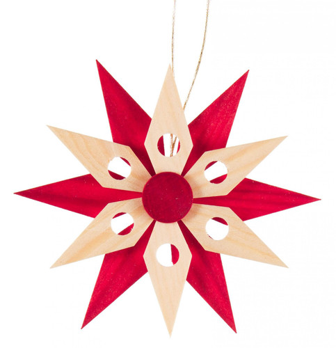 Red Natural Wooden Star Christmas Ornament ORD199X076