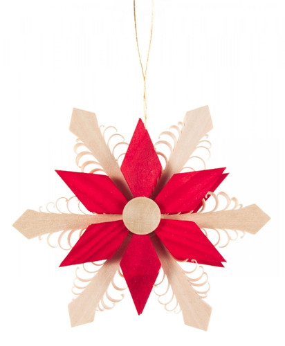 Red Natural Wooden Star Ornament ORD199X077
