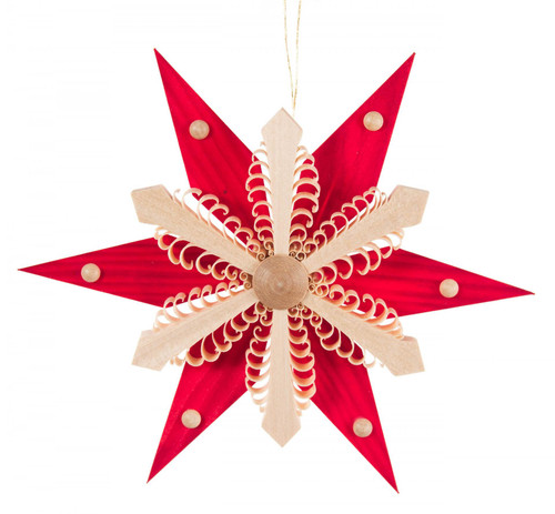 Ornate Red Natural Wooden Star Ornament ORD199X082