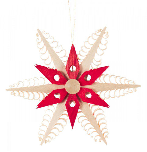 Intricate Red Natural Wooden Star Ornament ORD199X083