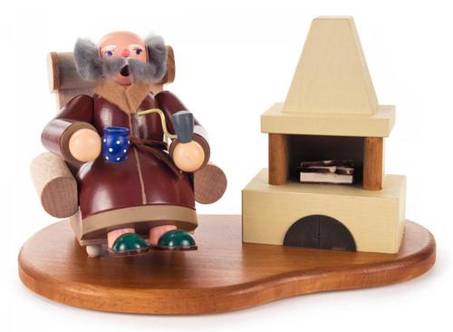 Opa Sitting by Fireplace German Smoker SMD146X1810