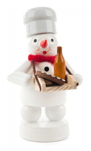 Snowman Wooden Figurine with Wine and Torte FGD198X097X24X4