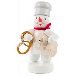Snowman Baker Wooden Figurine Holding Pretzel FGD198X097X24X