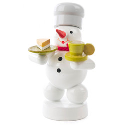 Snowman Baker Wooden Figurine with Coffee and Cake FGD195X097X24X2