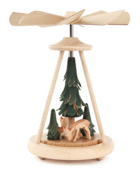 Mini Pyramid Carved Deer in Forest Trees PYD074X240X3