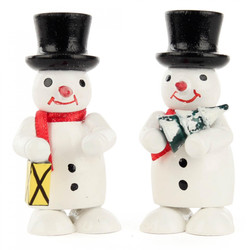Pair Snowmen Lantern Tree Wooden German Figurines FGD195X820