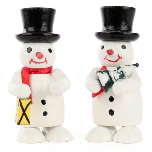 Pair Snowmen Lantern Tree Wooden German Figurines FGD195X820