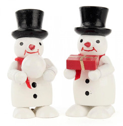 Pair Snowmen Wooden Gift Snowball German Figurines FGD195X821